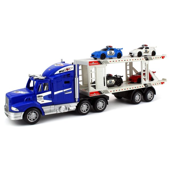Velocity Toys City Police Transporter Trailer 1:32 Friction Toy Truck (Colors May Vary)