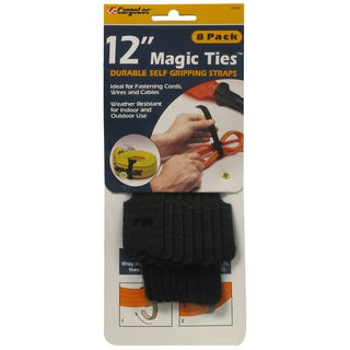 Allied International 32494 12-inch Black Magic Ties 8-count