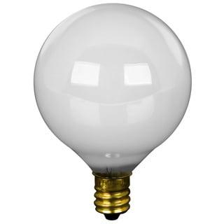 Feit Electric BP40G16-1/2W 40 Watt White Long Life Vanity Globe Light Bulb 2-count