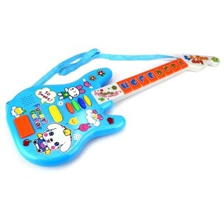 Velocity Toys Mini Rock 'N Roll Star Battery Operated Blue Toy Guitar with Lights and Sounds