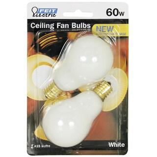 Feit Electric BP60A15N/W/CF 60 Watt White Ceiling Fan Light Bulb 2-count