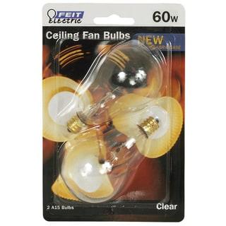 Feit Electric BP60A15C/CL/CF 60 Watt Clear Ceiling Fan Light Bulb 2-count