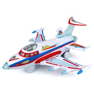 Velocity King Air Aviator Battery Operated Bump and Go Toy Plane with Fun Flashing Lights and Sounds