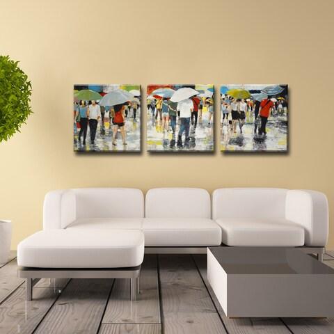 Ready2HangArt Norman Wyatt Jr. 'Umbrellas' 3-piece Wrapped Canvas Art Set