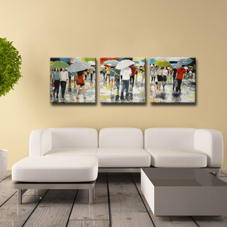 Ready2HangArt Norman Wyatt Jr. 'Umbrellas' 3-piece Wrapped Canvas Art Set