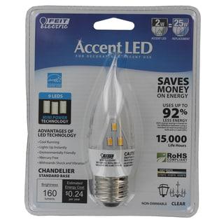 Feit Electric BPEFC/LED/RP 2 Watt Clear Flame Tip 9 LED Light Bulb
