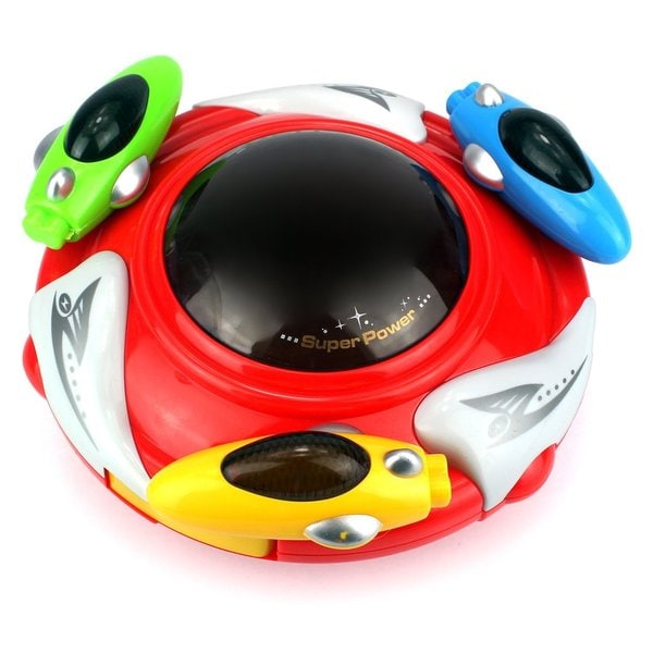 Velocity Toys Magic UFO Battery Operated Bump and Go Toy Saucer Car with Fun Flashing Lights and Sounds