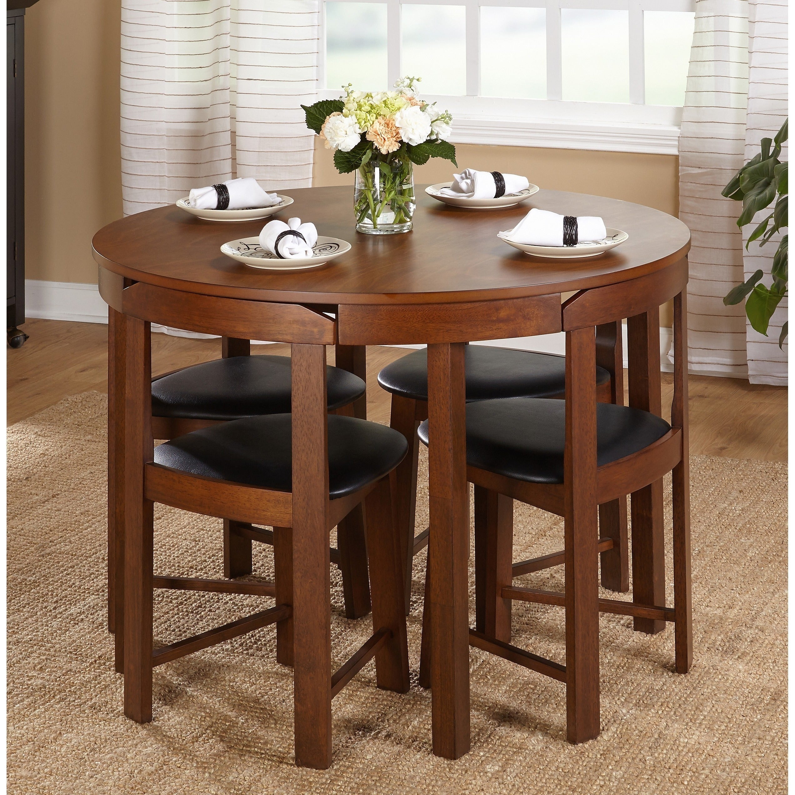 Wonderful Clay Alder Home Harrisburg 5 Piece Tobey Compact Round Dining Set (2  Options Available