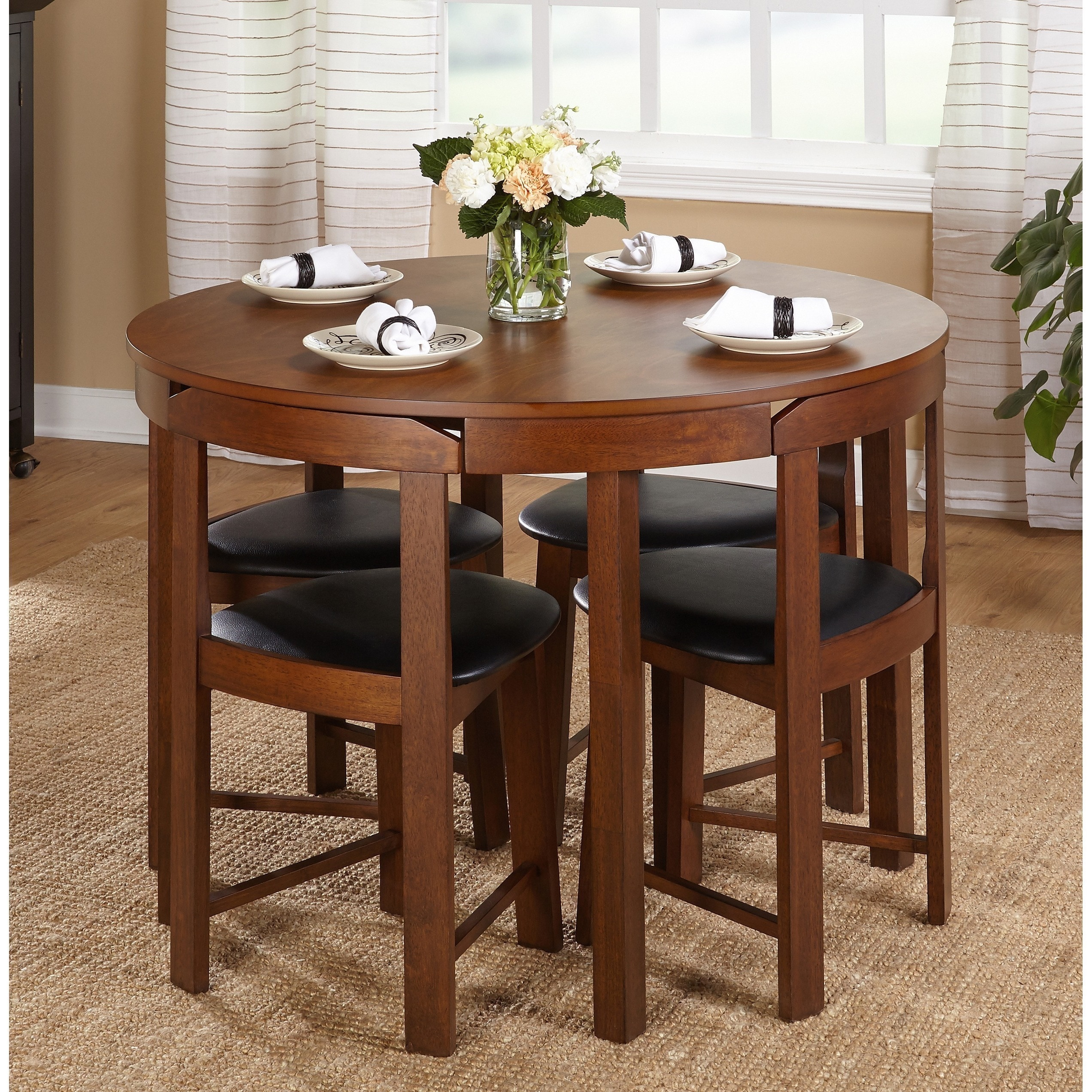 Simple Living 5 Piece Tobey Compact Round Dining Set (2 Options Available)