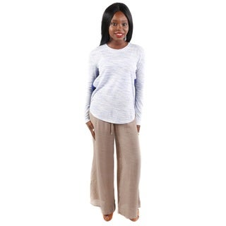 Hadari Women's Two Tone Long Sleeve Top and Wide Leg Casual Pants 2-piece Set
