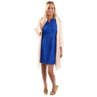 Hadari Women's Sleeveless Trapeze Dress and 3/4 Sleeve Light Long Blazer 2-piece Set