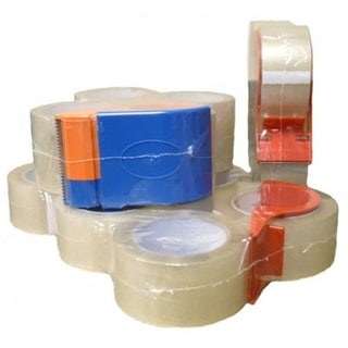 Clear Packing Tape with Dispenser Packed 2.0 Mil 2-inch x 55 Yards 4 Rolls / Case