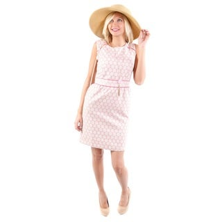Hadari Women's Pattern Summer Dress and Brown Hat 2-piece Set