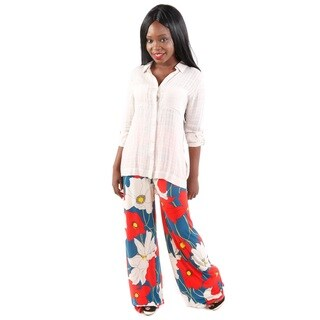 Hadari Women's 3/4 Sleeve Blouse and Flower Palazzo Pants 2-piece Set