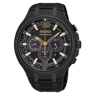 Seiko Men's SSC451 Stainless Steel Solar Chronograph Watch with a Black Dial and 100M Water Resistance