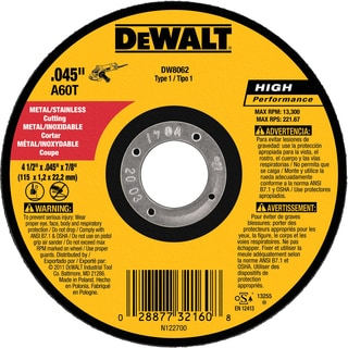 "DeWalt DW8062 4.5"" Cutting Wheel"