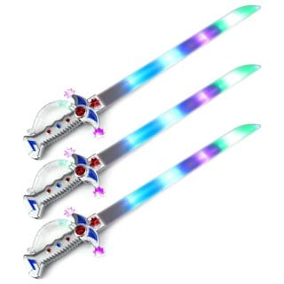 Velocity Toys Clear Astro Pirate Flashing LED Light Up and Sound Party Favor Toy Light Sword Sabers (Set of 3)