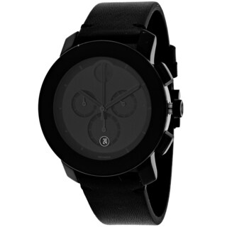 Movado Men's 3600337 Bold Round Black Leather Strap Watch