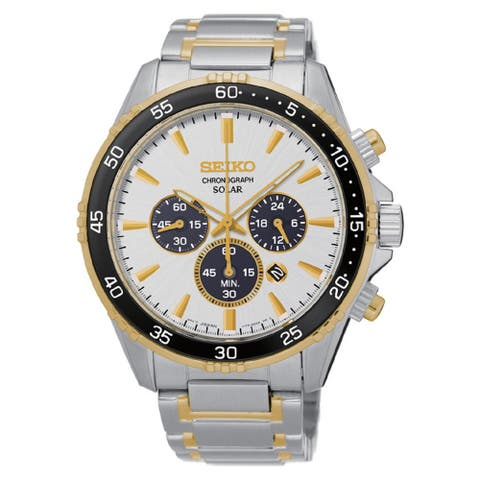 Seiko Men's Stainless Steel Solar Chronograph Watch with a White Dial and 100M Water Resistance