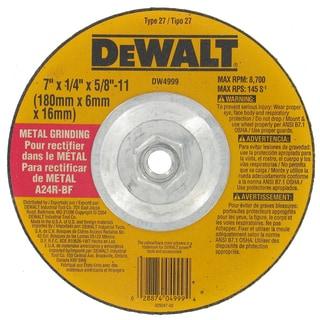 "Dewalt DW4999 7"" 5/8""-11 Arbor Fast Cut Metal Depressed Center Grinding Wh"
