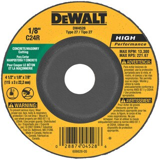 "Dewalt DW4528 5"" 7/8"" Arbor Masonry Grinding Wheels Depressed Center"
