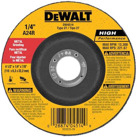 Dewalt DW4514 Fast Cut Metal Depressed Center Grinding Wheel