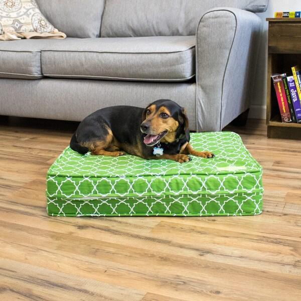 Green Medallion Gel Memory Foam Orthopedic Dog Bed with Waterproof Cover