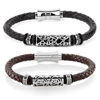 Crucible Stainless Steel Tribal Leather Bracelet - 8 inches (9mm Wide)