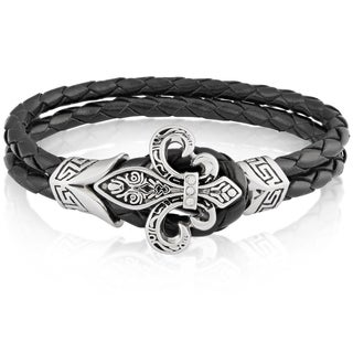Crucible Stainless Steel Fleur de Lis Black Genuine Leather Bracelet - 7.75 inches (10mm Wide)