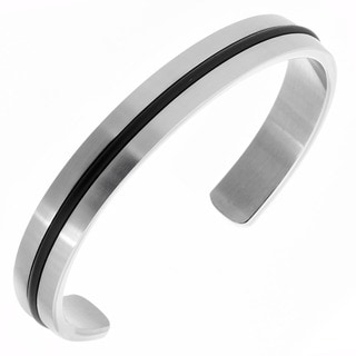 Men's Brushed Stainless Steel Rubber Inlay Bangle Bracelet - 7 inches (10mm Wide)