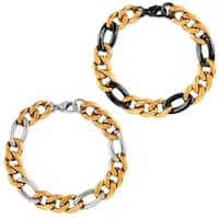 Crucible Two Tone Polished Stainless Steel Figaro Chain Bracelet - 8.75 inches (12mm Wide)