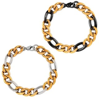 Crucible Two Tone Stainless Steel Figaro Chain Bracelet (12mm)