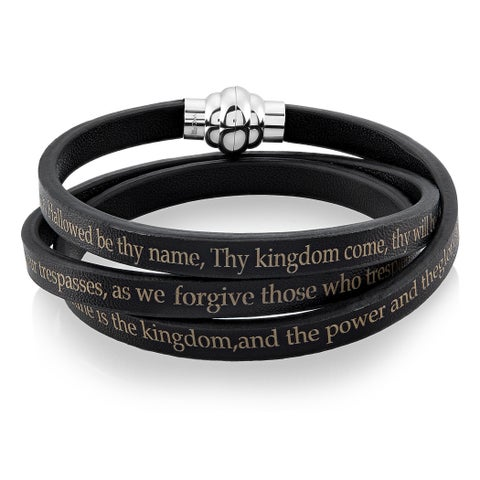 Lord's Prayer Stainless Steel Leather Wrap Bracelet (6mm)