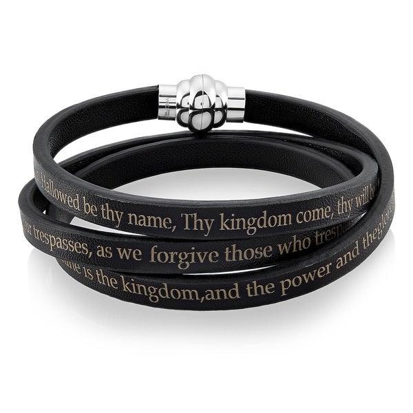 les ventes chaudes nouvelle sélection grand choix de Shop Lord's Prayer Stainless Steel Leather Wrap Bracelet ...