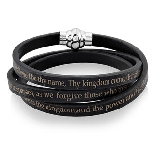 Men's Stainless Steel Lord's Prayer Black Leather Wrap Bracelet - 7 inches (6mm Wide)
