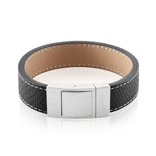 Crucible Brushed Stainless Steel Textured Black Leather Bracelet - 8.5 inches (17mm Wide)