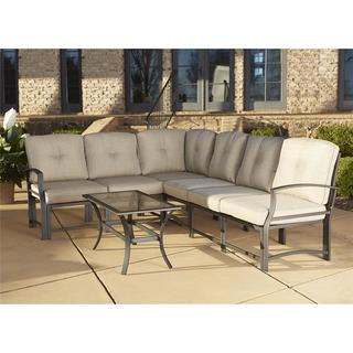 Cosco Outdoor Aluminum Sofa Sectional Patio Furniture Set with Coffee Table