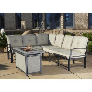 Cosco Outdoor Aluminum Sofa Sectional Patio Set with Gas Fire Pit Table