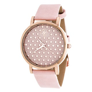 Fortune NYC Women's Rose Polka Dot W/ Pink Leather Strap Watch