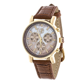 Fortune NYC Women's Boyfriend Goldtone Case/ Brown Leather Strap Watch