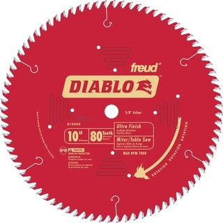 "Diablo D1080X 10"" 80 TPI Ultra Finish Chop/Slide Miter and Table Saw Blade"