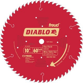 "Diablo D1060X 10"" 60T Diablo Fine Finish Work Chop Miter and Table Saw Bl"