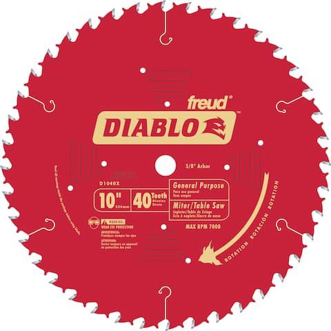 "Diablo D1040X 10"" 40T Diablo General Purpose Chop Miter and Table Saw Blad"