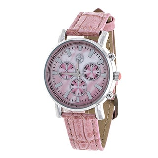 Fortune NYC Women's Boyfriend Silvertone Case/ Pink Leather Strap Watch