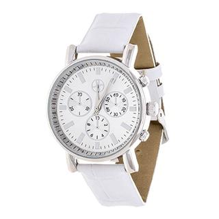 Fortune NYC Women's Silvertone Boyfriend/ White Leather Strap Watch