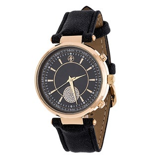 Fortune NYC Women's Goldtone Boyfriend CZ Dial/ Black Leather Strap Watch