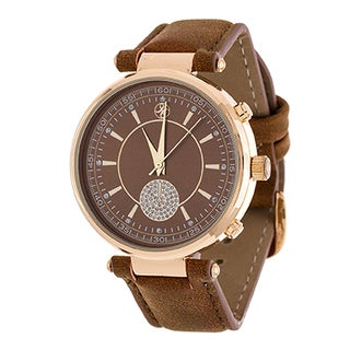 Fortune NYC Women's Goldtone Boyfriend CZ Dial/ Brown Leather Strap Watch