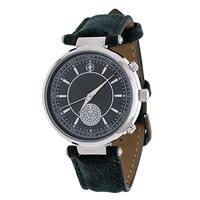Fortune NYC Women's Silvertone Boyfriend CZ Dial/ Green Leather Strap Watch