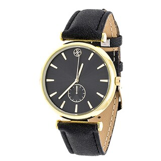 Fortune NYC Boyfriend Women's Goldtone Black Dial/ Black Leather Strap Watch