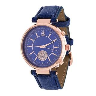 Fortune NYC Boyfriend Women's Rosetone CZ Dial/ Blue Leather Strap Watch|https://ak1.ostkcdn.com/images/products/11635840/P18569405.jpg?impolicy=medium